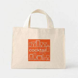 Orange cocktail party mini tote bag