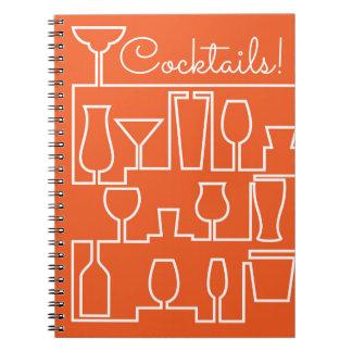 Orange cocktail party spiral notebook