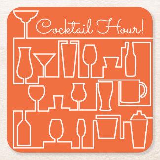 Orange cocktail party square paper coaster