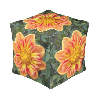 Orange Collarette Dahlia Floral Pouf