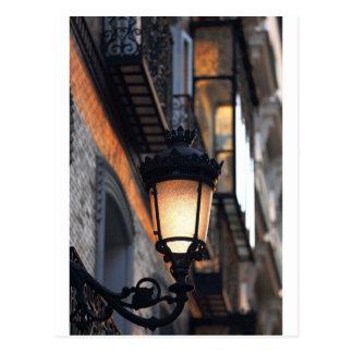 Orange colonial street lamp Madrid Postcard