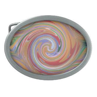 Orange color and rainbow swirl oval belt buckle