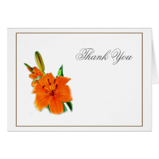 orange color lily flowers,  thank you note card. card