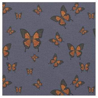 Orange colored Butterfies, Swallow tail Butterfly Fabric
