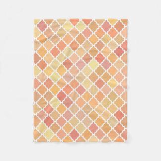 Orange Colored Quatrefoil Pattern Fleece Blanket