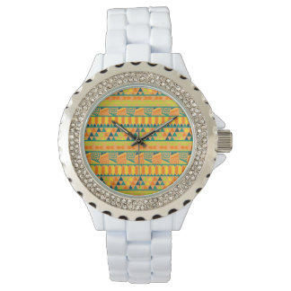 Orange Colorful Abstract Aztec Tribal Print Pattrn Wristwatches