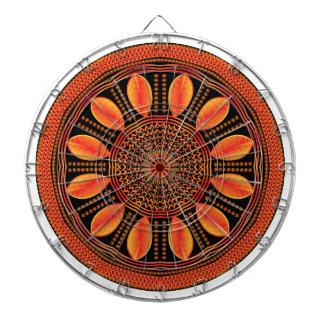Orange Coloured Leaf Mandala Dartboard