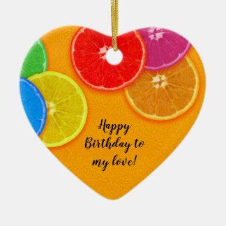Orange colourful slices Birthday Ceramic Ornament