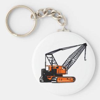 Orange Construction Crane Keychain