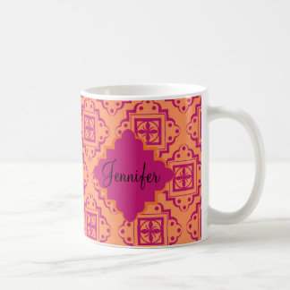 Orange Coral & Magenta Arabesque Moroccan Graphic Coffee Mug