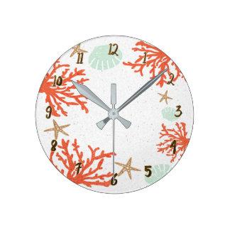 Orange Coral Sea Shells & Starfish Whimsical Round Clock