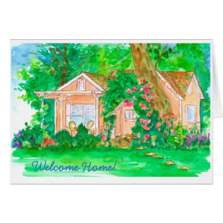 Orange Cottage Watercolor Welcome Home Card