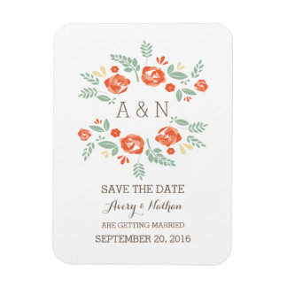 Orange Country Floral Monogram Save the Date Rectangular Photo Magnet