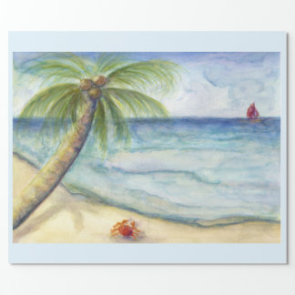Orange crab sail boat  costal scene palm tree wrapping paper