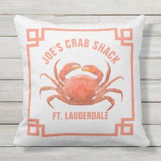 Orange Crab Watercolors Illustration Throw Pillow