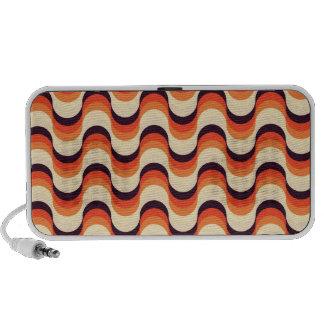 Orange, Cream, Brown Retro Fifties Abstract Art Laptop Speakers