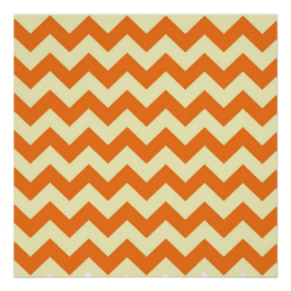 Orange Cream Citrus Chevron ZigZag Stripes Gifts Poster