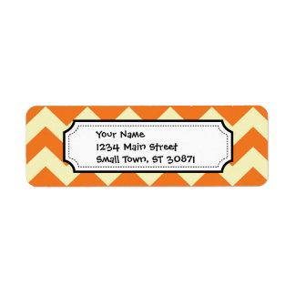 Orange Cream Citrus Chevron ZigZag Stripes Gifts Return Address Label