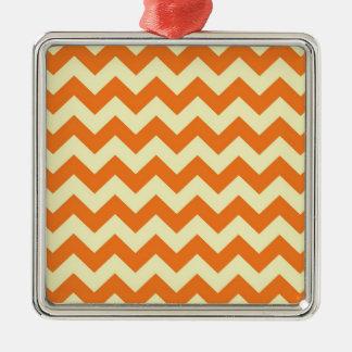 Orange Cream Citrus Chevron ZigZag Stripes Gifts Silver-Colored Square Ornament