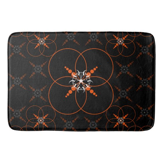 Orange Crop Circles Bathroom Mat