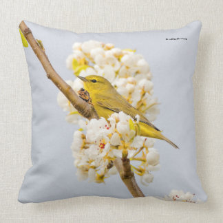 Orange-Crowned Warbler Amid the Cherry Blossoms Throw Pillow