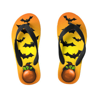 Orange Crystal Ball Witch and Bats Kid's Flip Flops