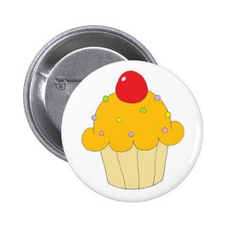 Orange Cupcake Pinback Button