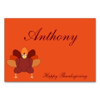 Orange Custom Thanksgiving Table Cards With Turkey