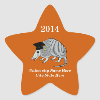 Orange Cute Armadillo Star Graduation Star Sticker