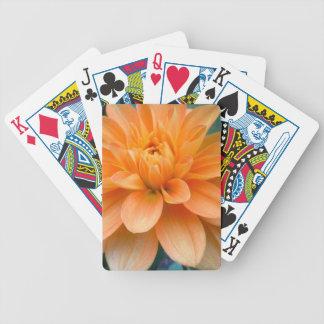 Orange Dahlia Bicycle Playing Cards