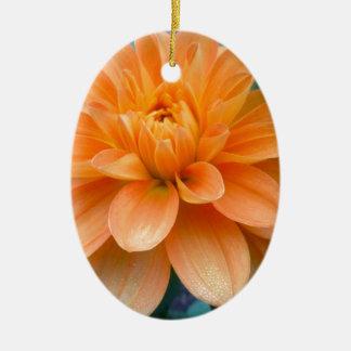 Orange Dahlia Ceramic Ornament