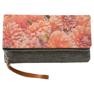 Orange dahlia flowers clutch