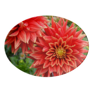 Orange dahlia flowers porcelain serving platter