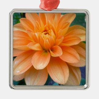 Orange Dahlia Metal Ornament