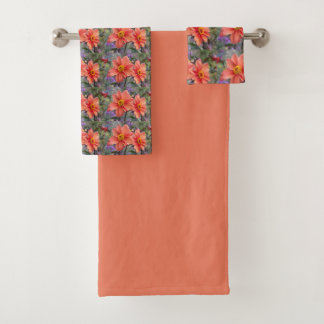 Orange Dahlias Floral Bath Towel Set