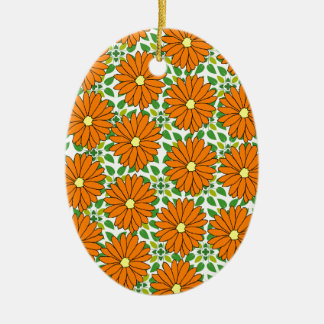 orange daisies on green leaves ceramic oval ornament