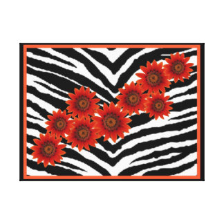 ORANGE DAISIES ON ZEBRA PRINT