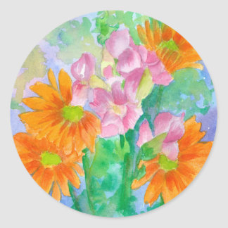 Orange Daisies Pink Snapdragons Watercolor Flowers Classic Round Sticker