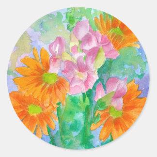 Orange Daisies Pink Snapdragons Watercolor Flowers Round Sticker