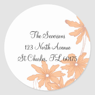 Orange Daisies Return Address Round Stickers