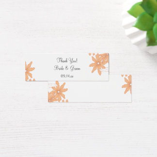 Orange Daisies Wedding Thank You Favor Tag Mini Business Card
