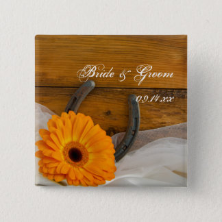 Orange Daisy and Horseshoe Country Western Wedding 2 Inch Square Button