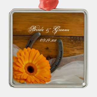 Orange Daisy and Horseshoe Country Western Wedding Silver-Colored Square Ornament