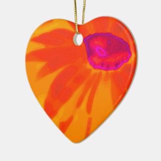 Orange Daisy Ceramic Heart Ornament
