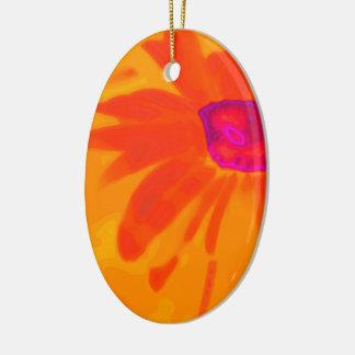 Orange Daisy Ceramic Oval Ornament