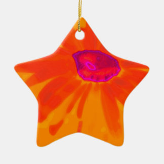 Orange Daisy Ceramic Star Ornament