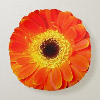 orange daisy flower round throw pillow