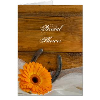 Orange Daisy Horseshoe Bridal Shower Invitation