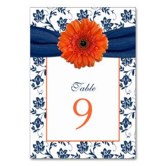 Orange Daisy Navy Blue Damask Ribbon Wedding Table Cards