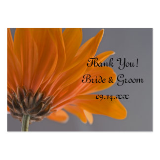 Orange Daisy on Gray Wedding Favor Tags Pack Of Chubby Business Cards